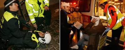 A la izquierda, un policía municipal lesionado en la calle de San Andrés. A la derecha, Asier, de pie, antes de ser trasladado al hospital por el Samur.