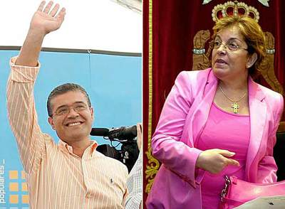 El alcalde de Mogán, Francisco Rodríguez, y la concejal de Obras de Telde, Antonia Torres.
