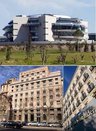 Arriba, la Ciudad Financiera del Santander en Boadilla del Monte, Madrid. Abajo, a la izquierda, la sede del banco en el paseo de Gracia  de  Barcelona. Y al lado, el edificio de representación en el paseo de la Castellana de  Madrid.