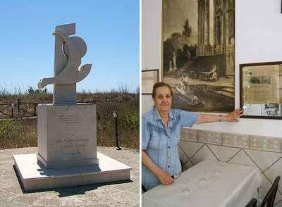 Monumento de Pasolini en Lido de Ostia (izquierda),  y la dueña de la  trattoria  donde cenó por última vez el director.
