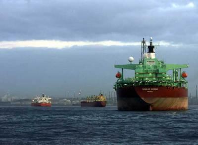 Barcos mercantes en la bahía de Algeciras.