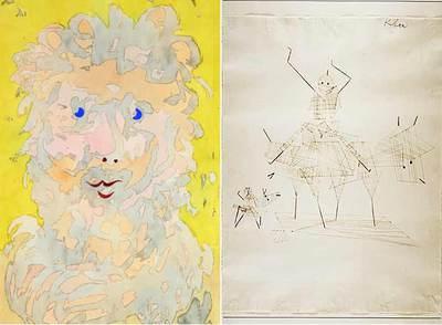 A la izquierda,  León hombre,  y a la derecha,  Jinetes,  de Paul Klee.