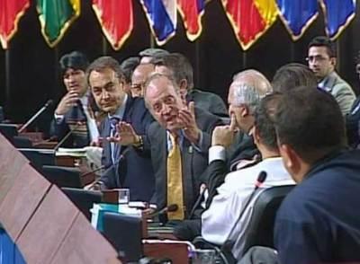 El Rey se dirige al presidente venezolano el pasado sábado.
