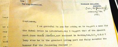Carta en la que Bowra presenta la candidatura de Juan Ramón Jiménez.