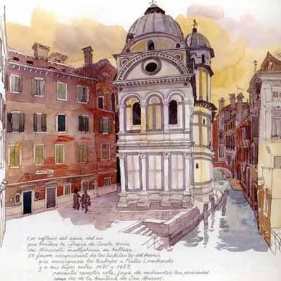 Iglesia de Santa Maria dei Miracoli, en Venecia, en una acuarela de Fabrice Moireau.