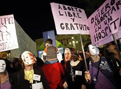 Concentración a favor del aborto el pasado enero en Madrid.