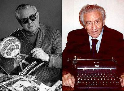 Joe Shuster y Jerry Siegel (derecha), cocreadores de Superman.