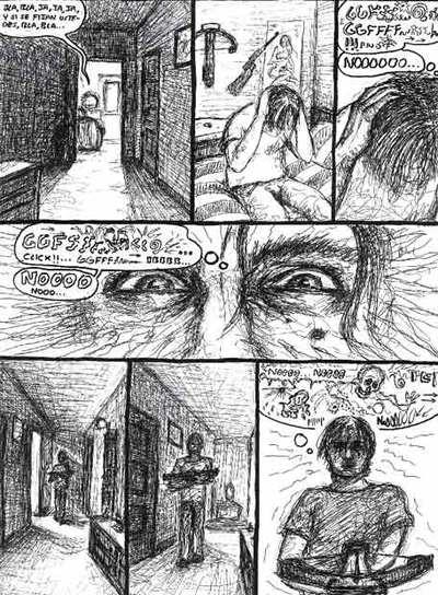 Una de las páginas del cómic que Andrés Rabadán ha creado para la película sobre su vida, y en el que recrea sus obsesiones y las circunstancias del asesinato de su padre.