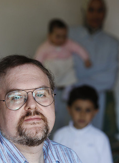 Yusuff Fernández, esta semana en Madrid con su familia.