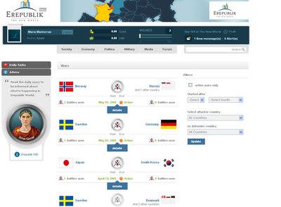 Imagen del juego Erepublik que recrea guerras virtuales entre países.