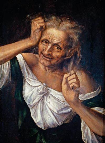 EL DOLOR. 'Vieja mesándose los cabellos' óleo de Quentin Massys. Museo del Prado