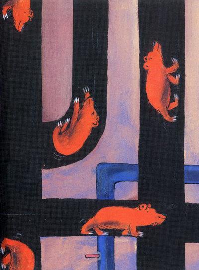 Ilustración de Emilio Urberuaga en el libro  Discurso del oso,  de Julio Cortázar.