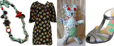 De izquierda a derecha: una creación de la diseñadora Carmen Mazarrasa, un vestido de las diseñadoras neoyorquinas de Doucette Duvall, un oso infantil reciclado de la Casita de Wendy y zapato hecho a mano de la firma inglesa Beyond Skin.