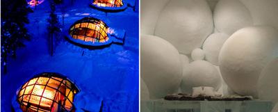 A la izquierda, el  hotel Kakslauttanen,  conjunto de 20 iglús con techo de cristal en Laponia (Finlandia) que permiten disfrutar del espectáculo que ofrece la aurora boreal mientras se está calentito con temperaturas exteriores de 30 grados bajo cero. A la derecha, el espectacular  Ice Hotel,  en Jukkasjärvi (Suecia). Se reconstruye cada año en invierno con el agua helada de un río cercano. La construcción se derrite cada primavera y el agua vuelve al cauce del río, cerrando así el ciclo natural.