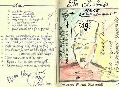 Una de las páginas del cuaderno de viaje de Henry, que llenaba con dedicatorias de los   chefs   que visitaba.