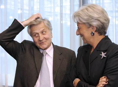 Jean-Claude Trichet conversa con Christine Lagarde el pasado mayo en una reunión en Bruselas.
