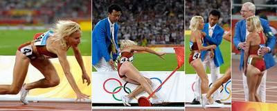 Marta Domínguez se cae tras tropezar con un obstáculo y es ayudada por los jueces.