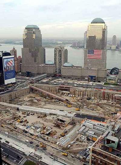 Vista de los trabajos de reconstrucción del World Trade Center de Nueva York, con Nueva Jersey al otro lado del río Hudson, en una imagen tomada el pasado 8 de septiembre.