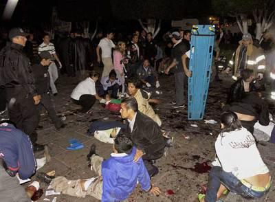 Víctimas del ataque narcoterrorista lanzado en Morelia durante la celebración del 198º aniversario de la Independencia de México.