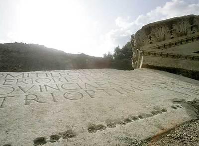 Imagen de la tumba del general romano Marcus Nonius Macrinus, hallada en Roma.