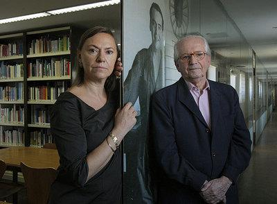 Laura García y Manuel Fernández-Montesinos, en la Fundación García Lorca, el 17 de septiembre.