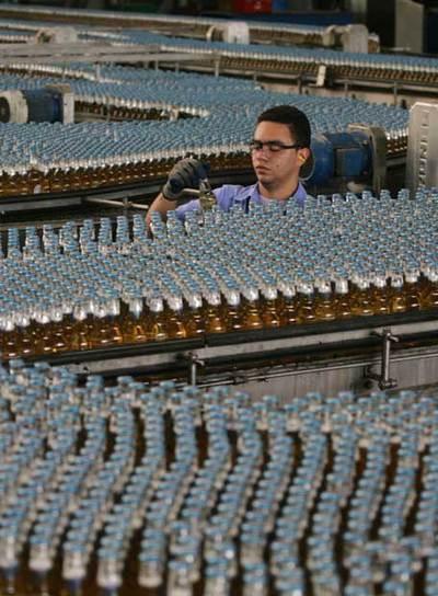Planta embotelladora de la cervecera Polar en San Joaquín.