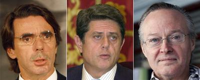 De izquierda a derecha, el ex presidente del Gobierno José María Aznar, el ex ministro de Defensa Federico Trillo y el ex titular de Asuntos Exteriores, Josep Piqué, en el cargo en la fecha de los documentos.