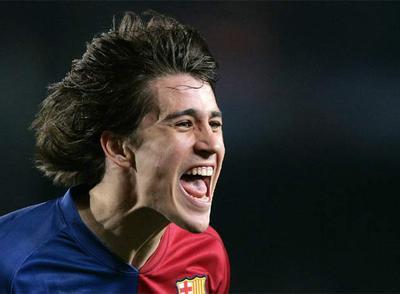 Bojan celebra su gol, el primero del Barça.