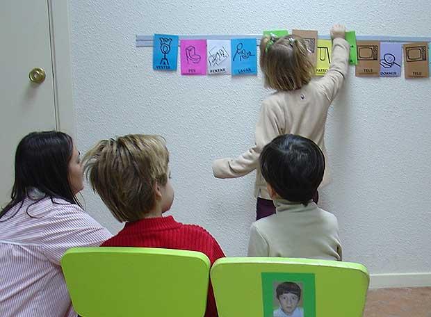 Niños afectados de autismo aprenden a través de pictogramas en la escuela especial Aleph.