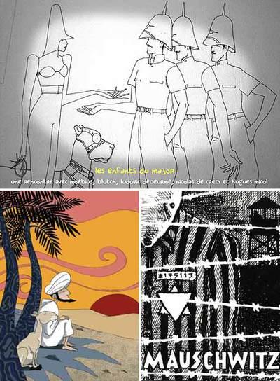 Arriba,  Mayor fatal  , de Moebius, de cuya obra se debate en Angulema. A la izquierda, dibujo de Patrick Morin expuesto en el Salón. A la derecha, viñeta de   Maus.