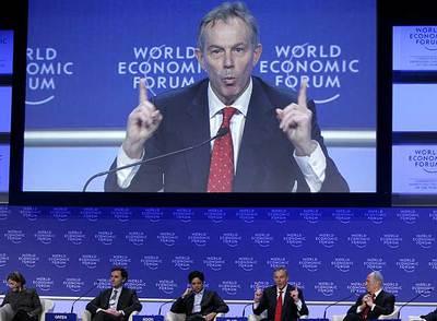 Tony Blair, durante su intervención en el Foro Económico Mundial de Davos (Suiza).