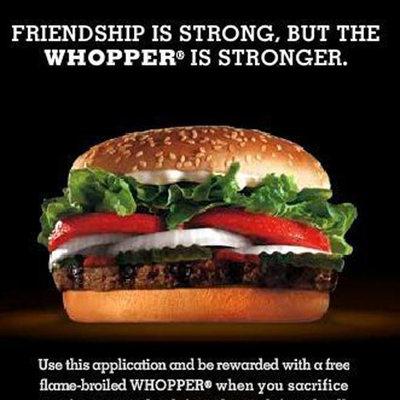 La amistad a cambio de una hamburguesa. El último grito en publicidad.