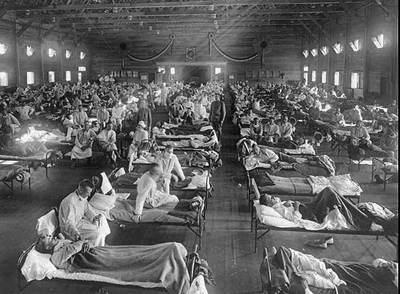Víctimas de la  gripe española  en un hospital cercano a Fort Riley (Kansas) en 1918.
