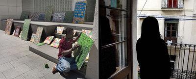 Jean Claude Rodney, con sus cuadros en el Macba y, la aspirante a dependienta, que quiere presevar su identidad, en el balcón de su casa.