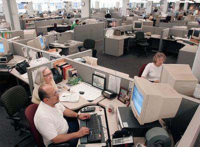 La redacción del periódico  The Philadelphia Inquirer,  en julio de 2006.