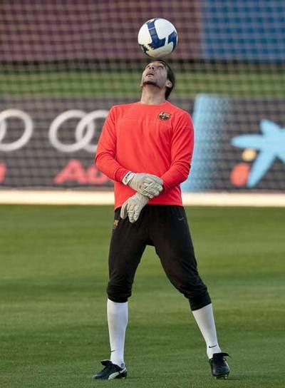 Pinto, en un entrenamiento del Barcelona.