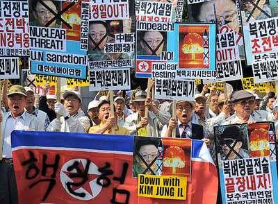 Concentración en Seúl contra los ensayos nucleares de Corea del Norte.