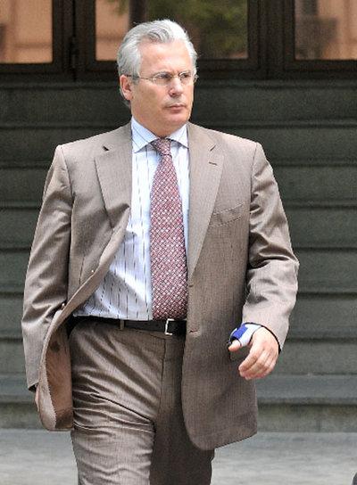 El juez Baltasar Garzón, al salir de la Audiencia.