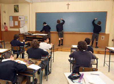 Aula del colegio Erain de Irún, que admite sólo a chicos.