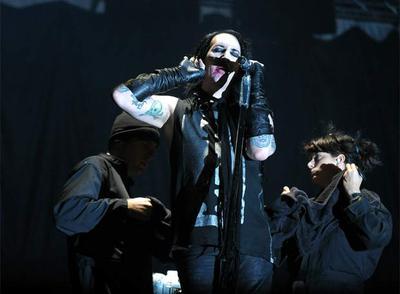 Marilyn Manson durante su actuación en la noche del viernes en Kobetasonik.