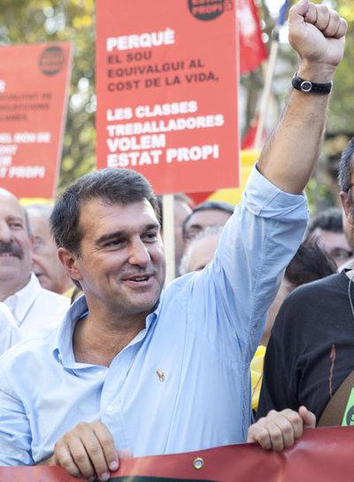 Joan Laporta, presidente del FC Barcelona, en la manifestación de la Diada Nacional de Cataluña, el 11 de septiembre, en Barcelona.