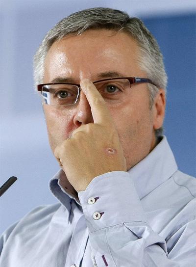 José Blanco, en la clausura de un acto del PSOE celebrado ayer.