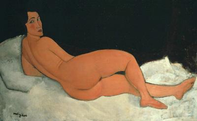 Desnudo echado sobre el costado izquierdo , de  Amedeo Modigliani.