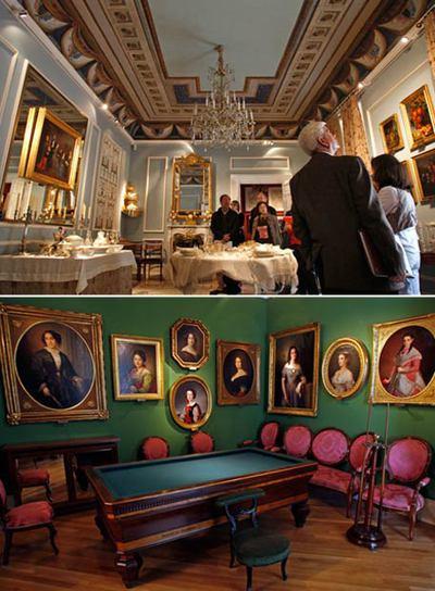 Comedor y sala de billar del Museo Nacional del Romanticismo.
