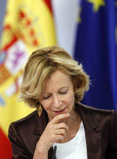Elena Salgado, en una comparecencia del Consejo de Ministros.