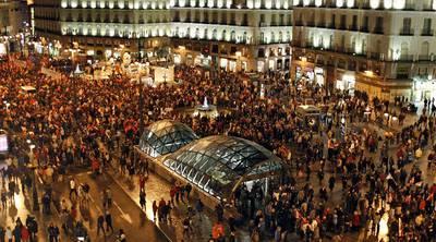 Aspecto de la manifestación ayer en la Puerta del Sol de Madrid contra el retraso de la edad de jubilación.
