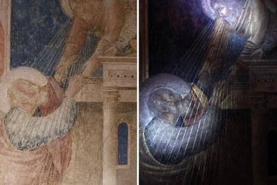 Detalle de una obra de Giotto en su estado actual, a la izquierda, y bajo la luz ultravioleta.