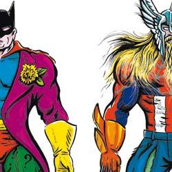 Personajes hechos a partir de retales de superhéroes de DC Comics (izquierda) y Marvel (derecha)