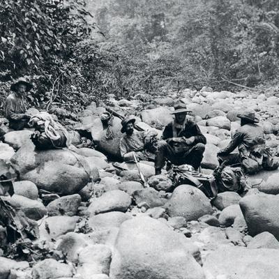 Fawcet y un grupo de hombres que le acompañaron en una de sus expediciones