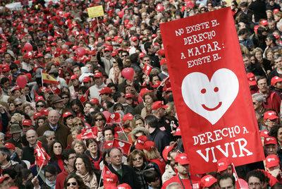 Manifestación de grupos antiabortistas en Madrid.